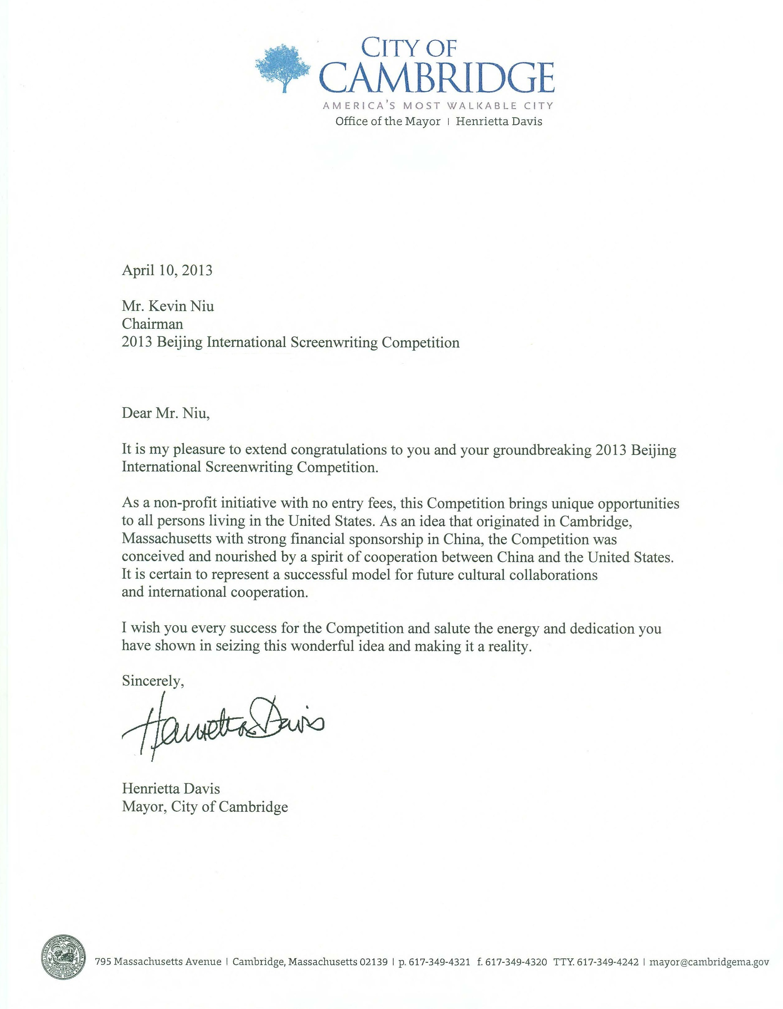 Congratulation Letters from Massachusetts Senator Warren