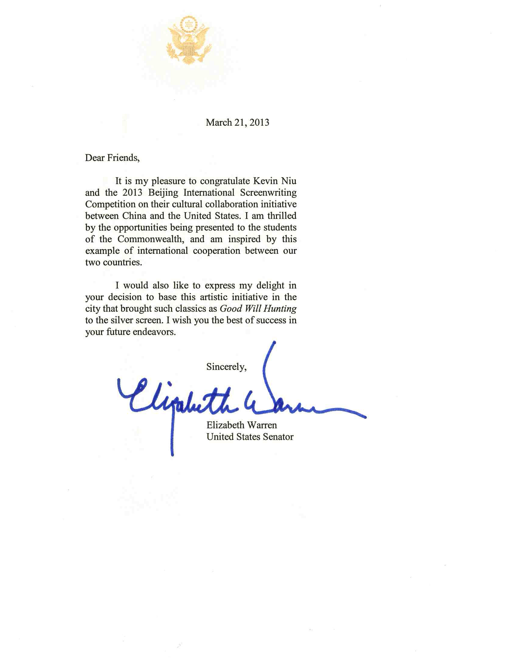 Congratulation letters from massachusetts senator warren governor governor patrick letter copy senator warren letter copy thecheapjerseys Image collections
